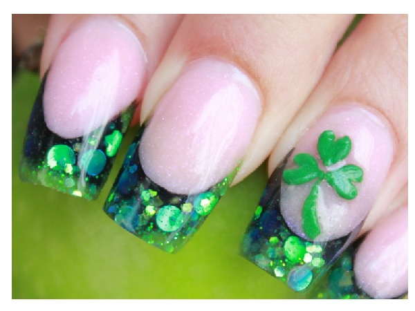 Glitter Green Shamrock Nails