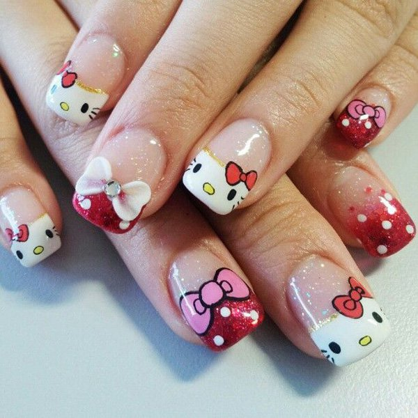12 cute hello kitty nail design ideas kitty nail nail art glitter hello kitty nail design prinsesfo Image collections