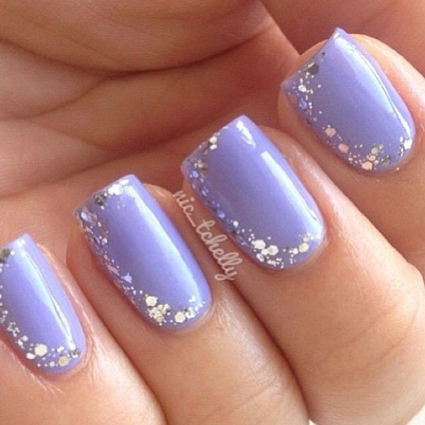 Light Blue Glitter Nail Design