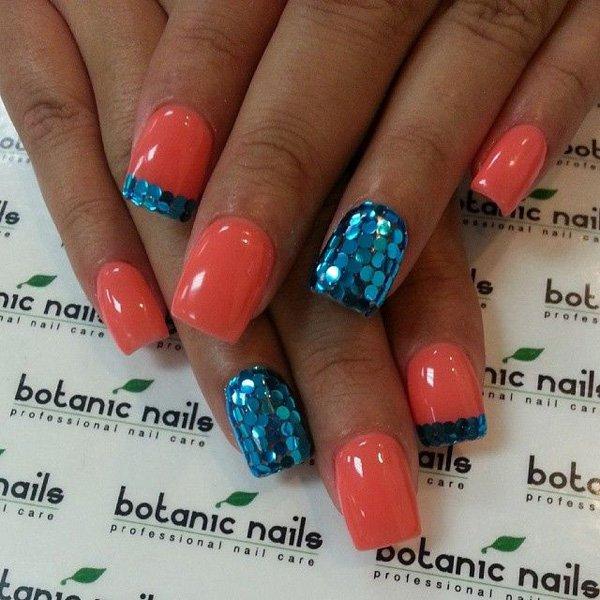 Melon Glitter Nail Design