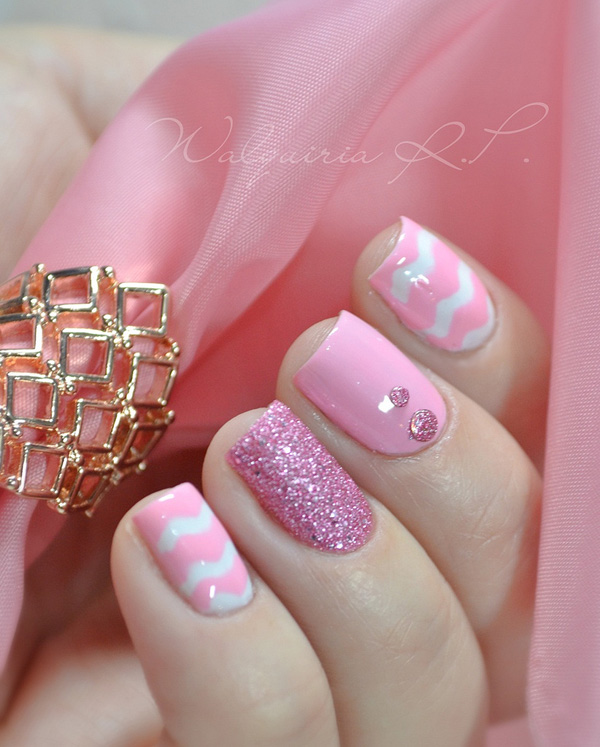 Glitter Pink Nail Design - 25 Cute Pink Nail Designs For 2016 - Pretty Designs