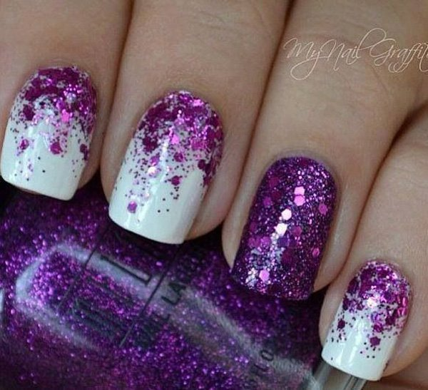 Purple Glitter Nail Design