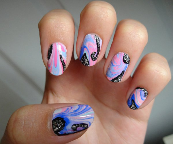 Glitter Water Marble Nail Design