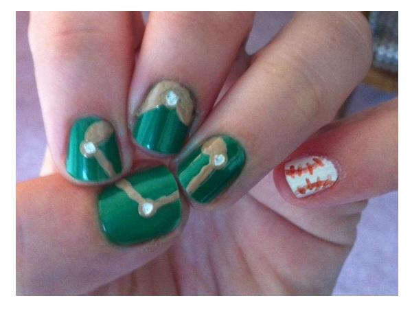 15 sporty baseball nail designs pretty designs green baseball nail turf design prinsesfo Gallery