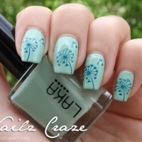 Green Blue Dandilion Nail Design