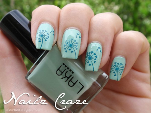 20 simple dandelion nail designs for 2016 pretty designs green blue dandelion nail design prinsesfo Choice Image
