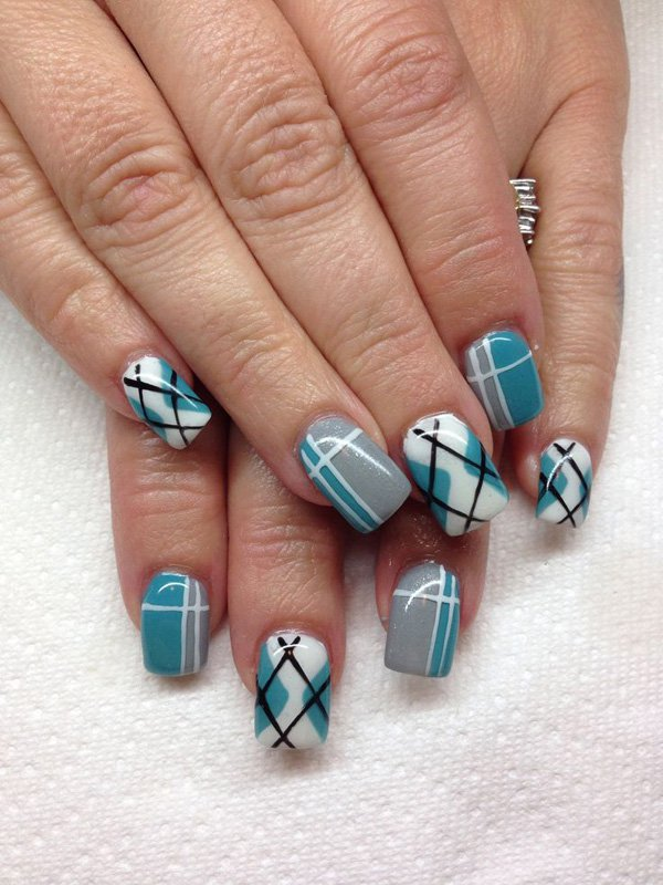 Green Blue Plaid Nail Design