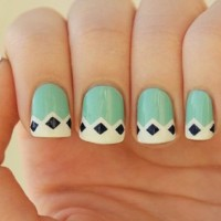 Lovely Green French Manicure Idea