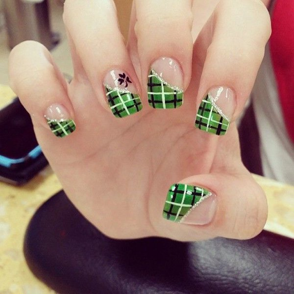 Green Glitter Plaid Nail Design