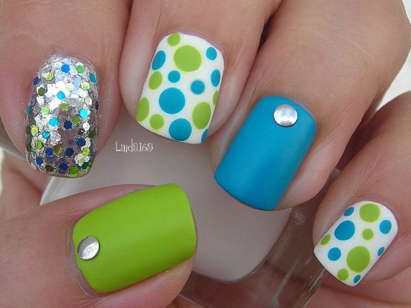 Green and Blue Polka Dot Nail Design