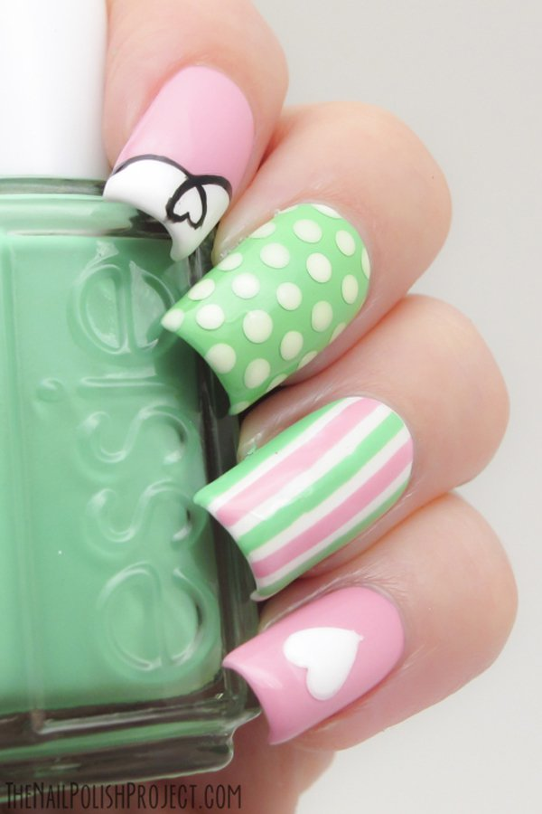 Green and Pink Polka Dot Nail Design