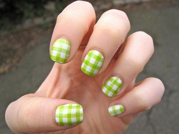 Green and White Plaid Nail Design