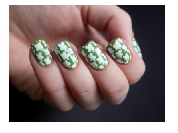Green and White Shamrock Nails