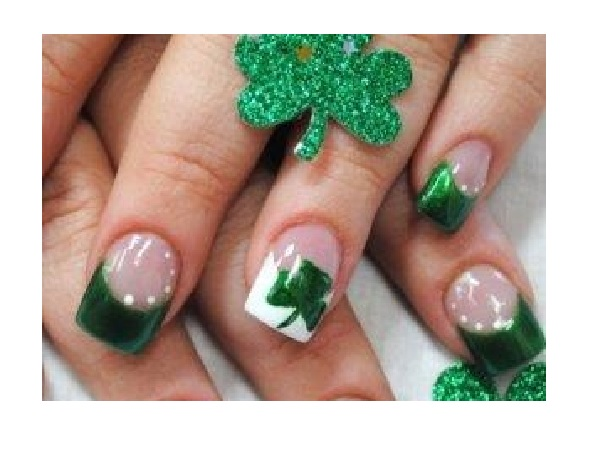 Green and White Tipped Shamrock Nails
