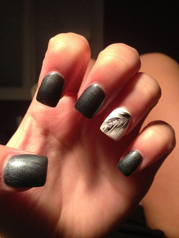 Grey Feather Nail Design