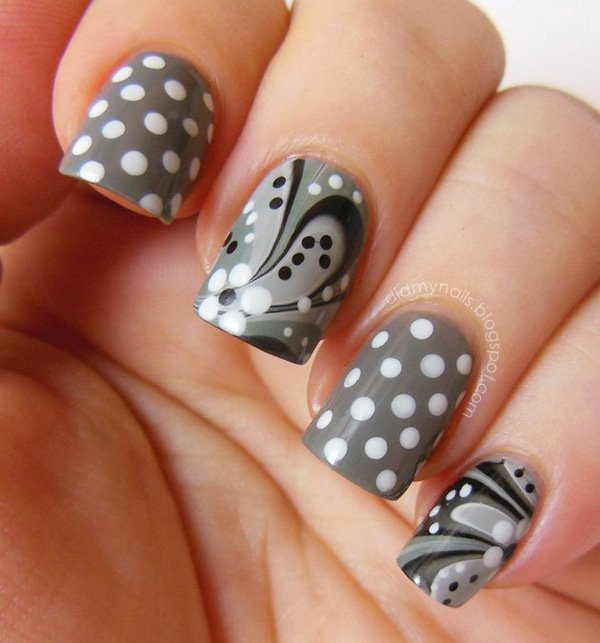 Grey Polka Dot Nail Design