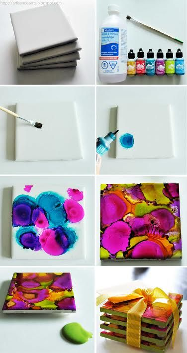 Ink Dyed Coasters
