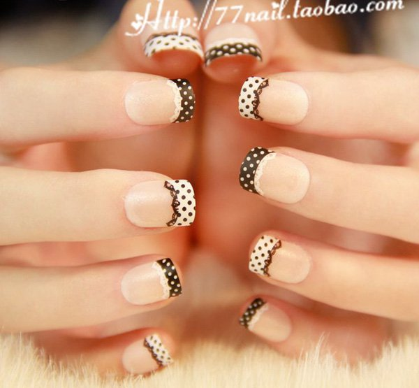 Lace French Manicure Idea