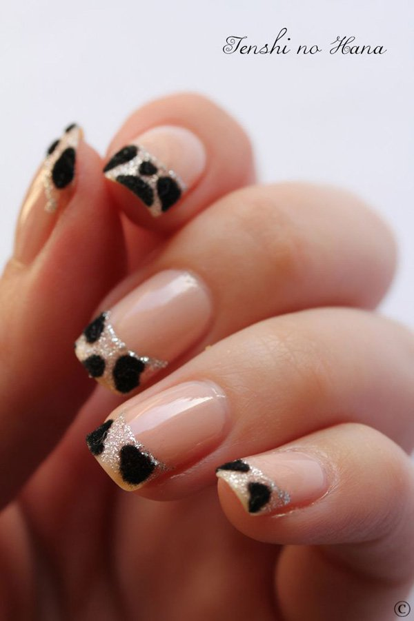 Leopard Print French Manicure Idea
