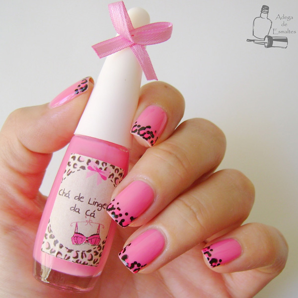 Leopard Print French Pink Nail Design