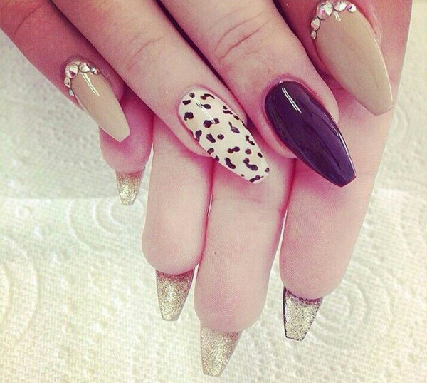 Leopard Print Stiletto Nail Design
