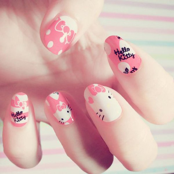 Lovely Pink Hello Kitty Nail Design