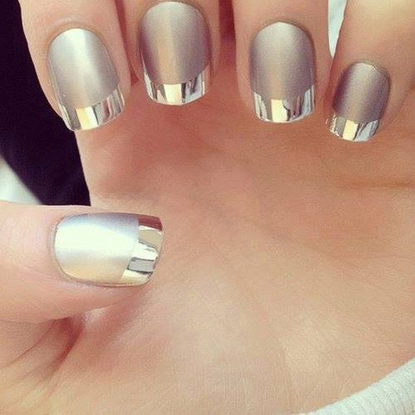 Metallic French Manicure Idea
