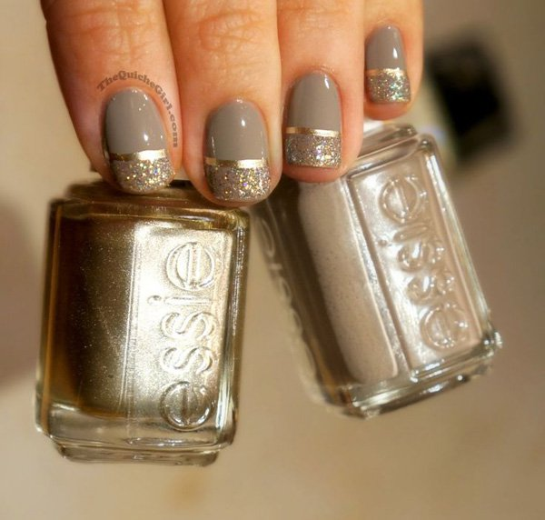 Metallic Grey Nail Design