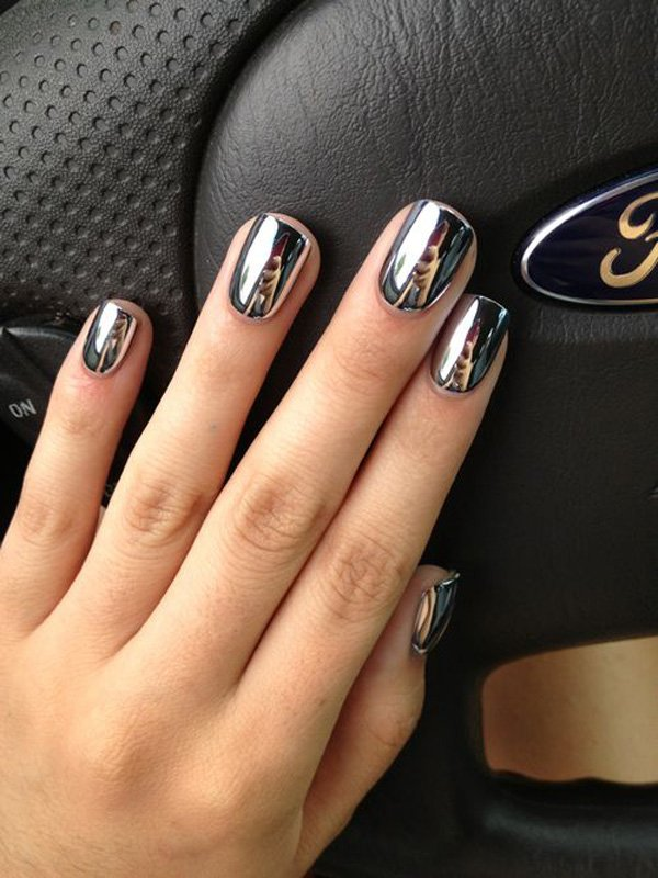 Metallic Silver Nail Design