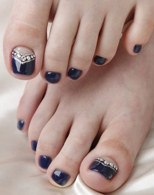 Midnight Blue Toenail Design