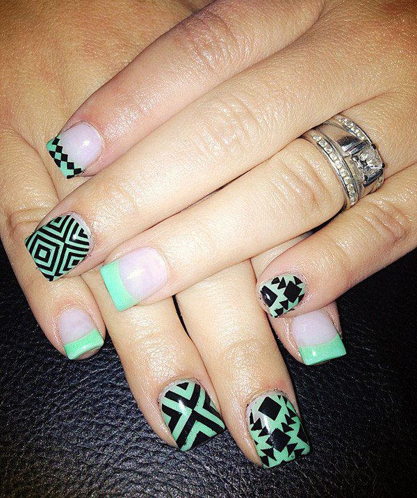 Mint Green Tribal Nail Design - 25 Great Tribal Nail Designs For 2016 - Pretty Designs