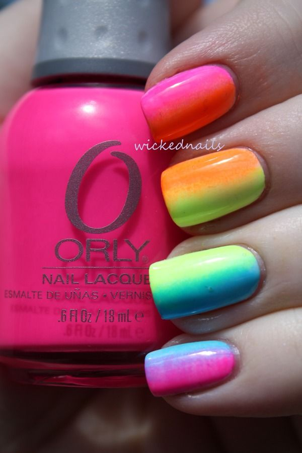 Multi-Colored Gradient Nail Design