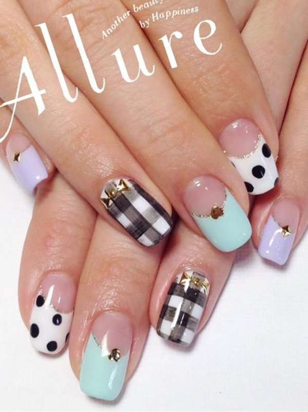 Multi-Colored Plaid Nail Design