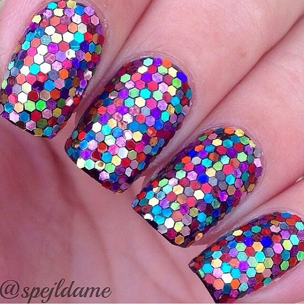 Muti-Colored Glitter Nail Design