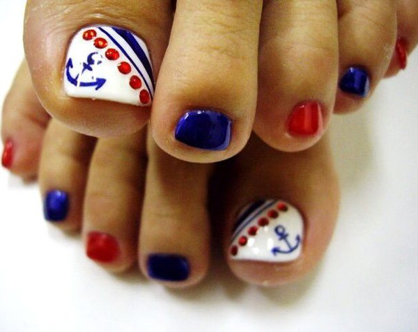 Nautical Toenail Design