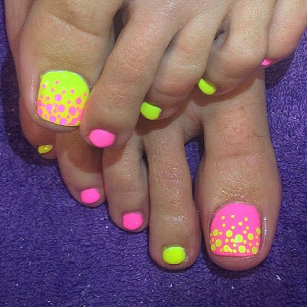 Neon Colored Toenail Design
