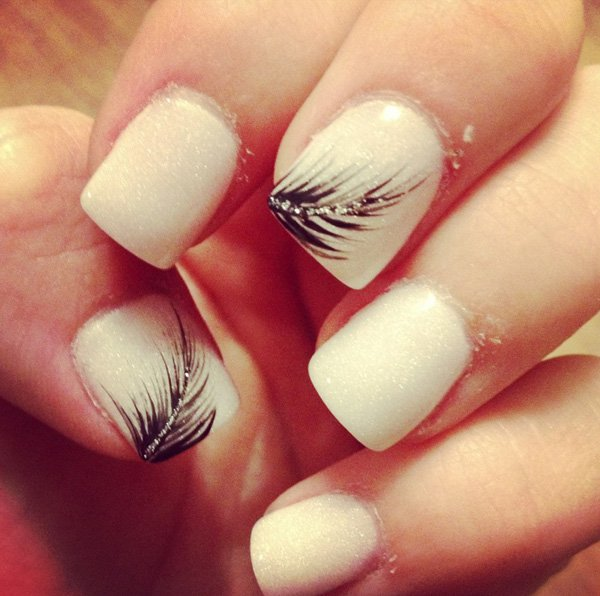 Nude Feather Nail Design - 15 Feminine Feather Nail Designs For 2016 - Pretty Designs