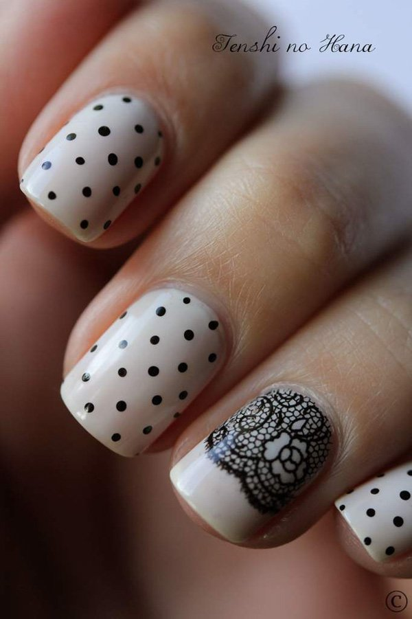 Nude Lace Polka Dot Nail Design