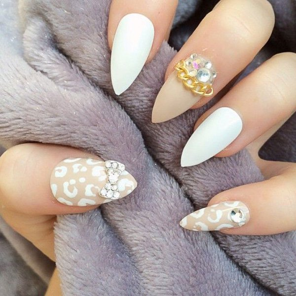 White Leopard Print Nail Design for Wedding