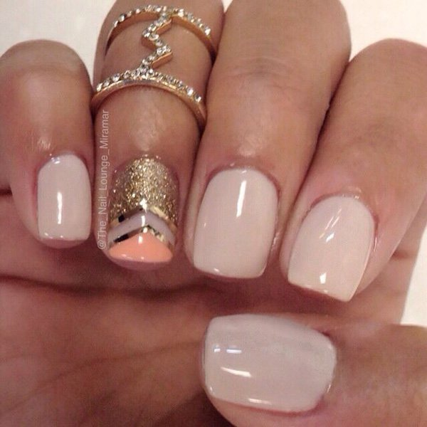 Nude Metallic Nail Design