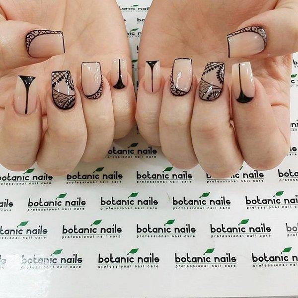 Nude Tribal Nail Design