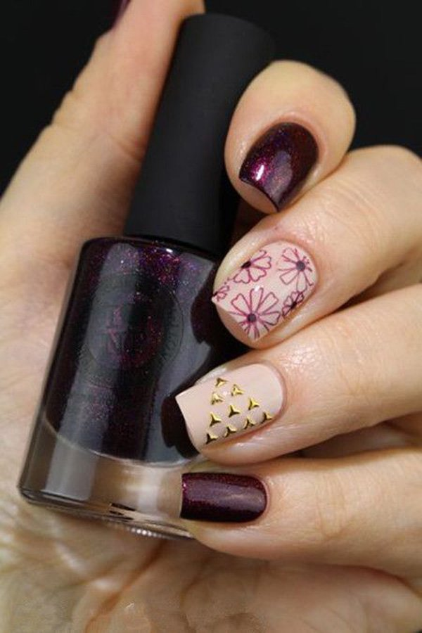 Nude and Violet Nail Design