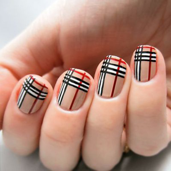 Nude Plaid Nail Design