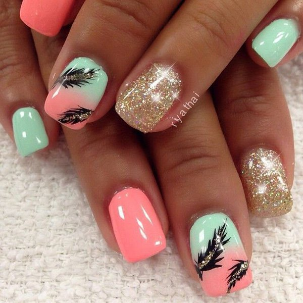 Omber Feather Nail Design