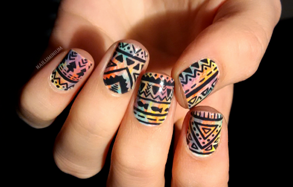 Ombre Tribal Nail Design