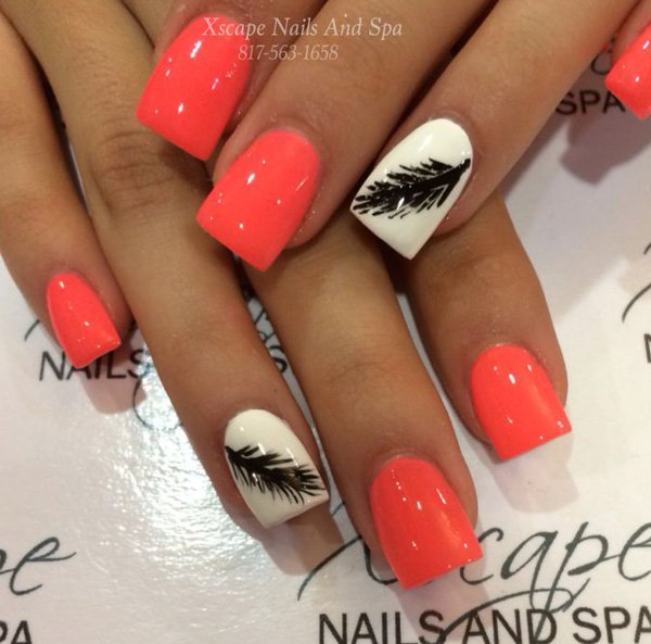 Orange Feather Nail Design