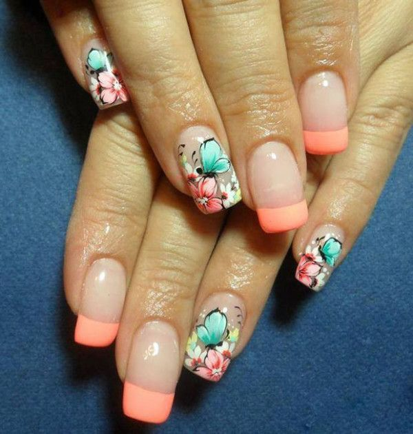 Orange French Manicure Idea