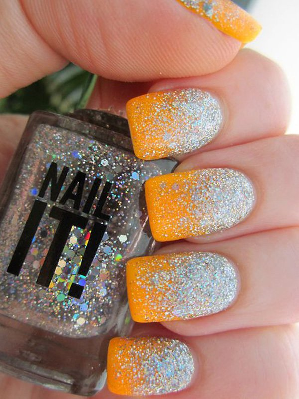 Orange Glitter Gradient Nail Design