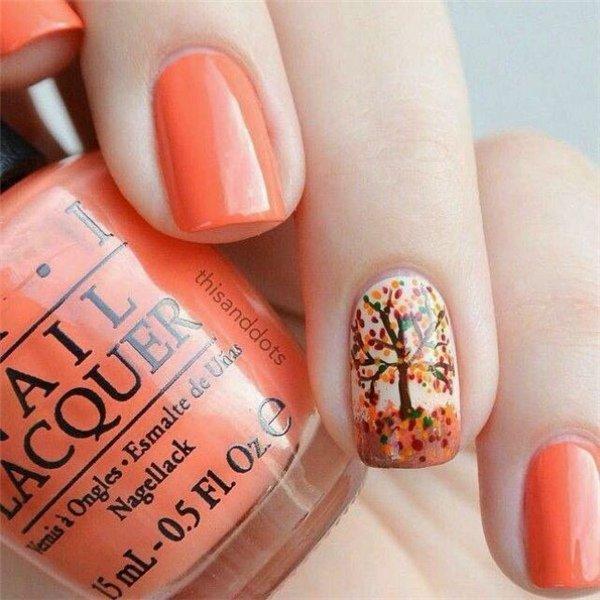 Orange Thanksgiving Nail Design