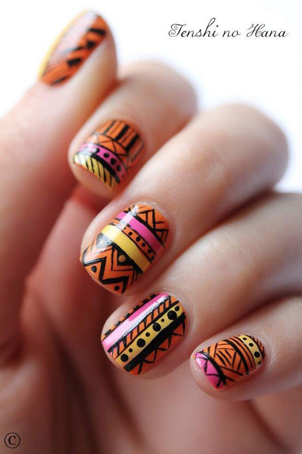 Orange Tribal Nail Design